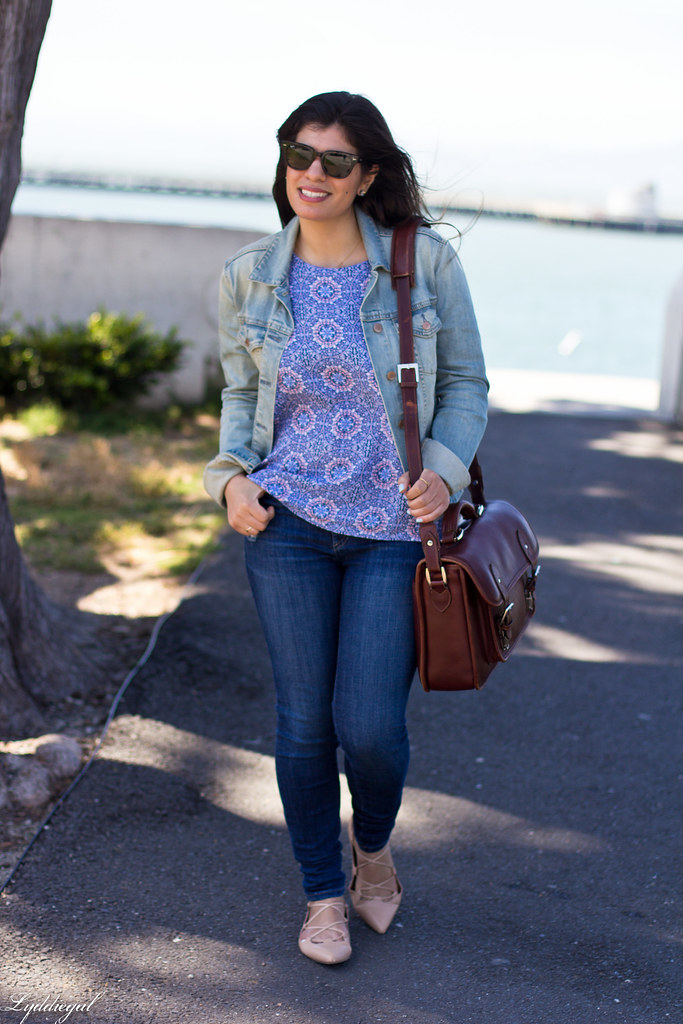 Printed tank, denim jacket, jeans, lace up flats, ona camera bag-2.jpg