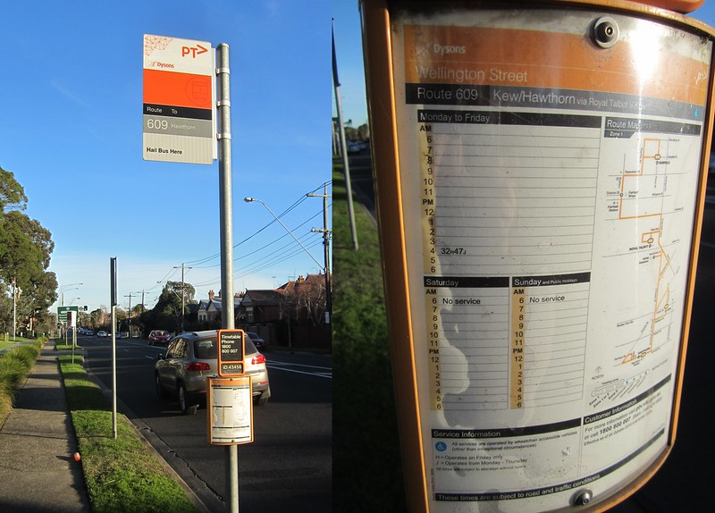 Bus stop sign outside Vicroads, Kew