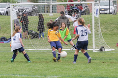 Malden girls protecting the goal.