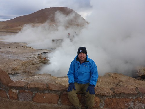 James in front of a Geyser