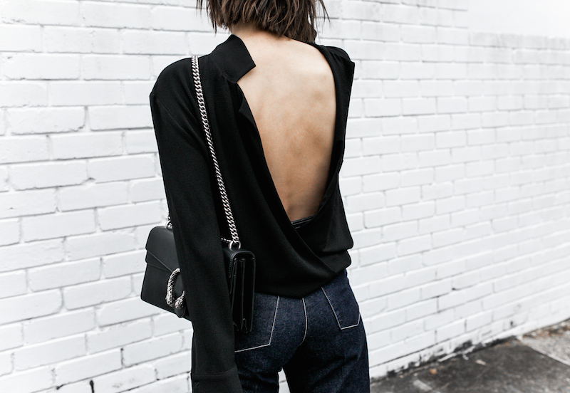 gucci dionysus black chain bag rachel comey wide leg jeans street style inspo minimal fashion blogger fur horsebit loafer Instagram (8 of 14)