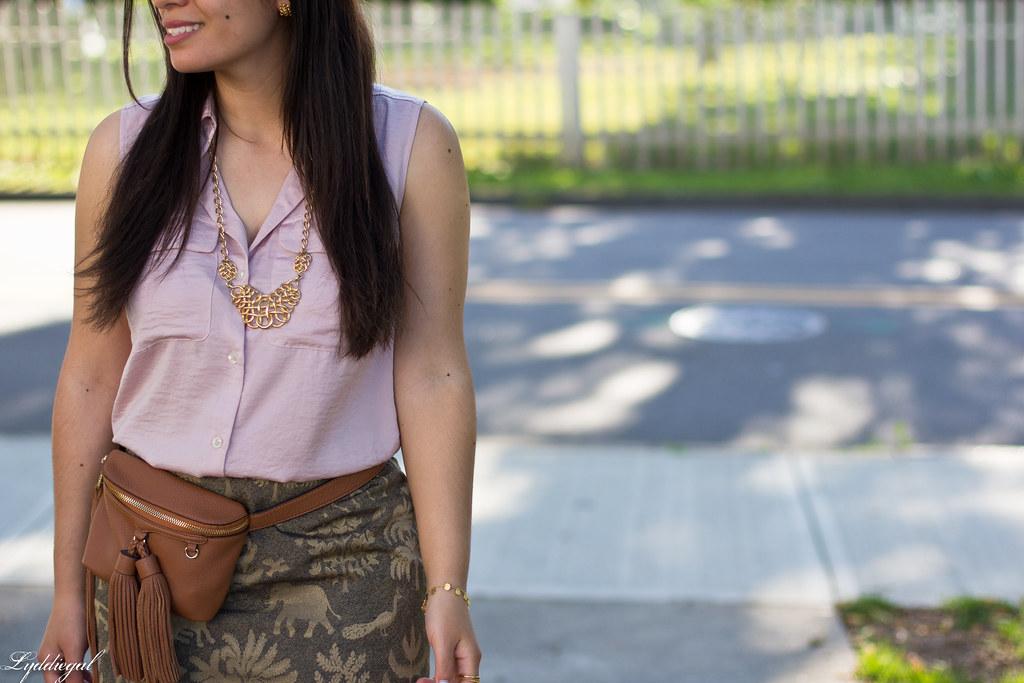 elephant print skirt, pink blouse, tassel waist bag-9.jpg