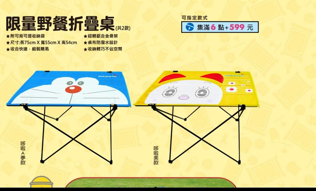 2 7-11 哆啦A夢樂遊一夏集點送 野餐折疊桌、野餐折疊椅、公仔自動傘、哆啦A夢面紙套、立體保冷袋、漫畫風玻璃便當盒