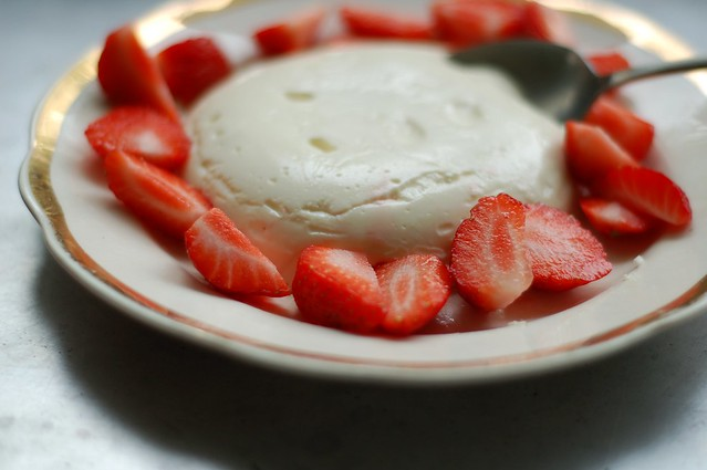 Perfect Panna Cotta with fresh strawberries and linden blossom syrup by Eve Fox, the Garden of Eating, copyright 2016
