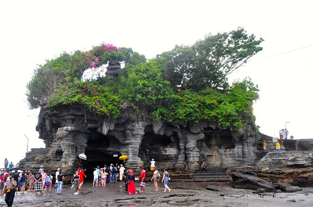 Tourists at Tanah Lot Temple in Bali