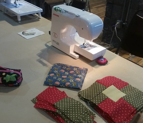 Tonight Jane and I sewed with the Hart Ranch Quilts of Valor ladies.  A fun group and the kids were so good.