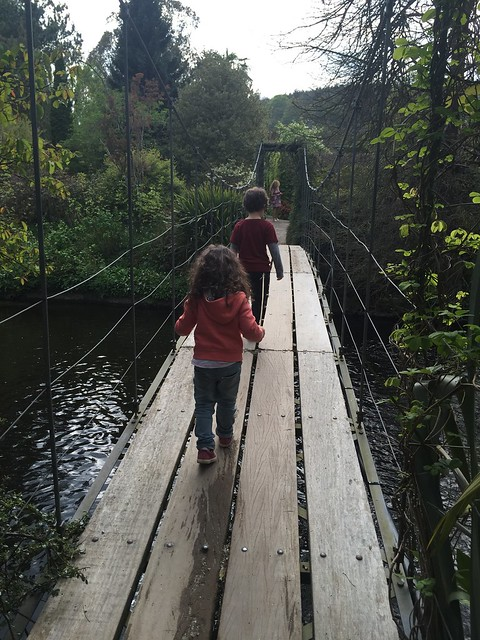 Our kids, carefully crossing the wobbly bridge