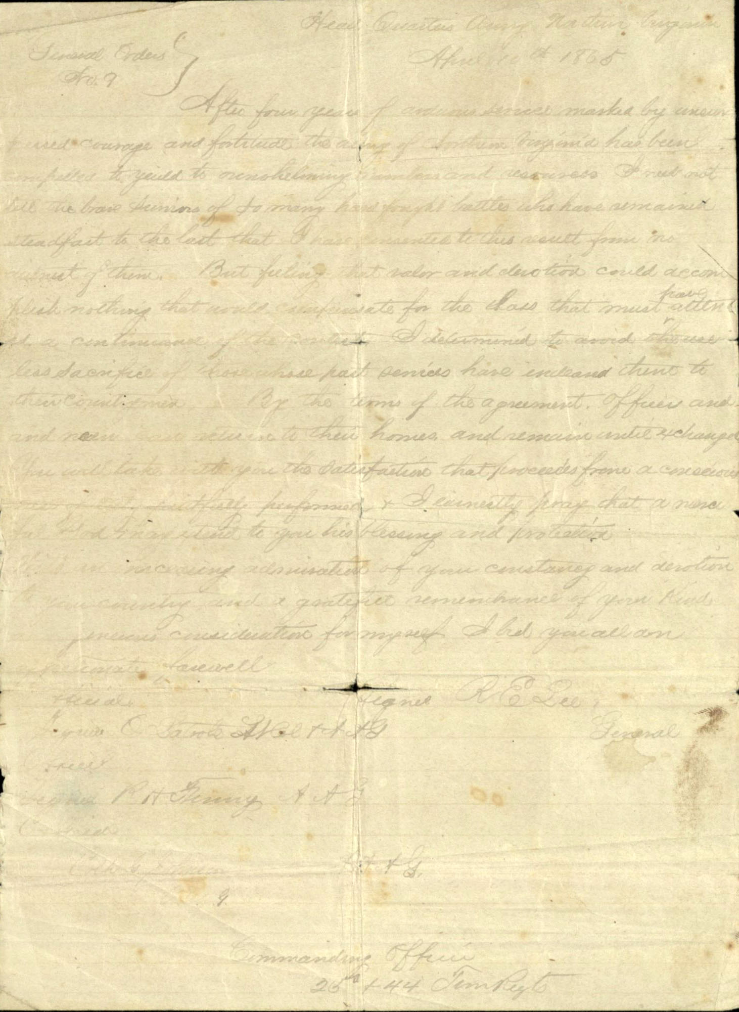 Robert E. Lee's General Order No. 9