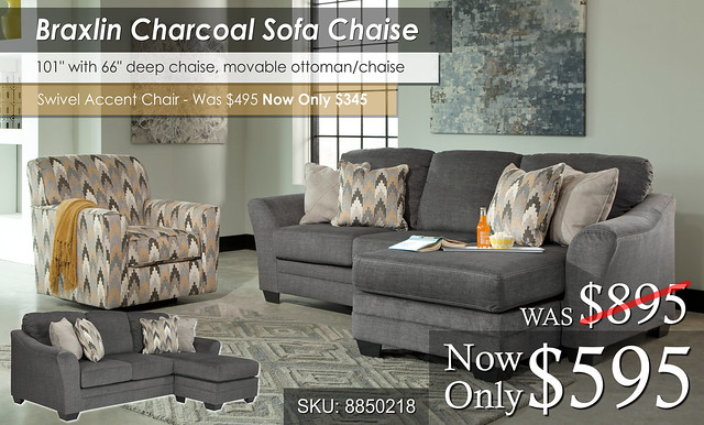 Braxlin Charcoal Sofa Chaise