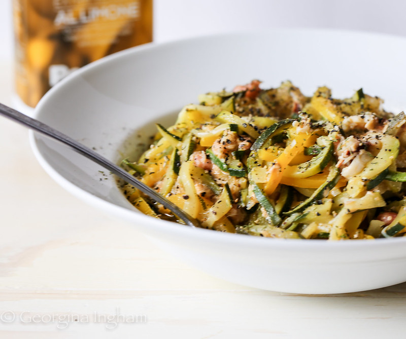 Georgina Ingham | Culinary Travels Photograph The perfect quick summer meal Crab and Brown Shrimp Courgetti - ready in 15 minutes