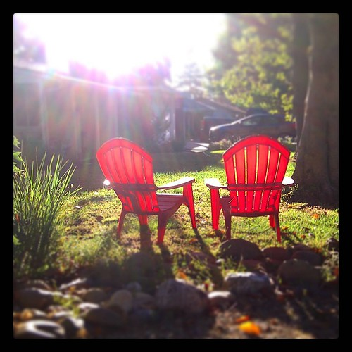 Sunroom #sunrise #lensflare #suburban #red #adirondackchair #summer #cali #clickthing
