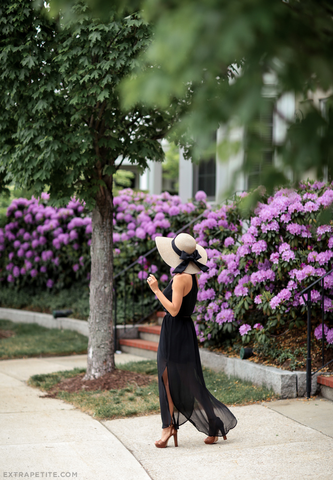 summer black maxi dress for petite women bow hat