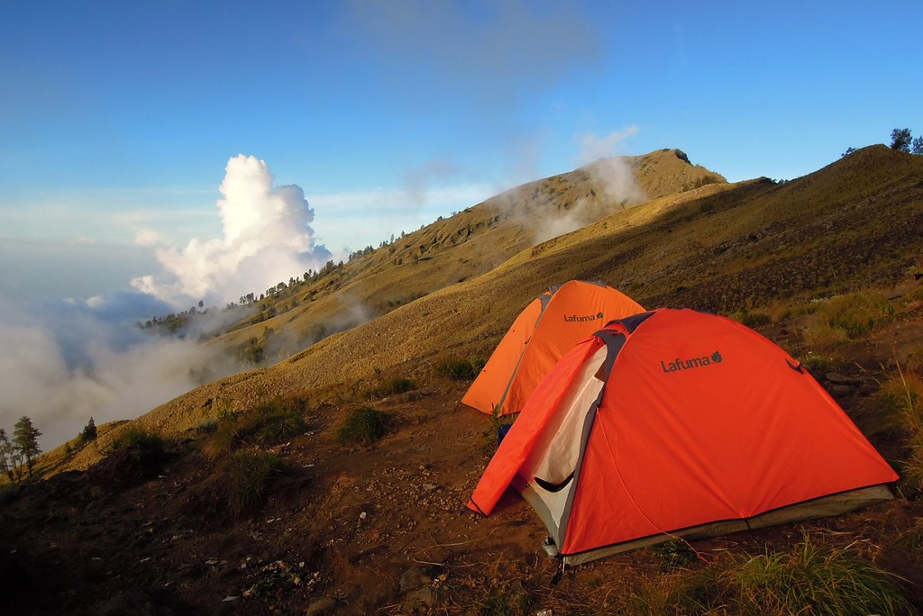 Camp at Mount RInjani, Lombok island.