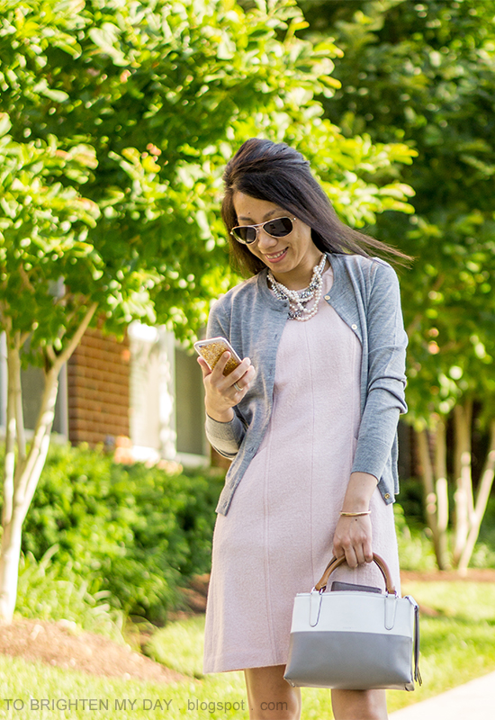 mixed pearl necklace, gray cardigan, pink wool shift dress, colorblocked bag