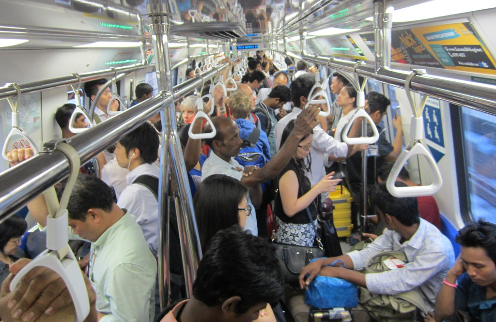 Singapore MRT train in peak hour