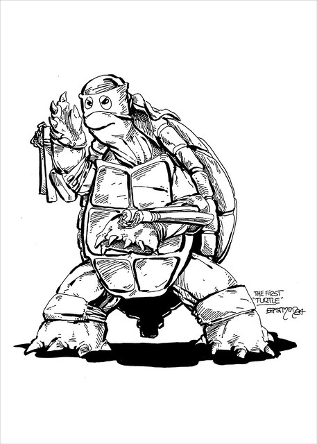 MONDO; Nickelodeon TEENAGE MUTANT NINJA TURTLES ; THE FIRST TURTLE (ORANGE MASK EDITION) / ..original EASTMAN Ninja Turtle sketch reference (( 2016 )) [[ Courtesy of MONDO ]]
