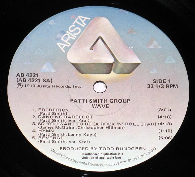 Patti Smith Group Wave Tod Rundgren