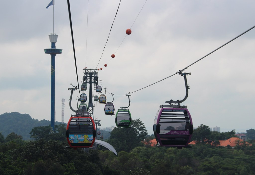 View from the cable car at Sentosa, Singapore