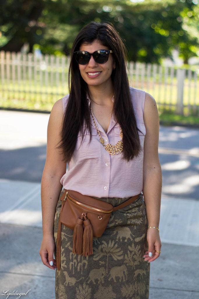 elephant print skirt, pink blouse, tassel waist bag-8.jpg