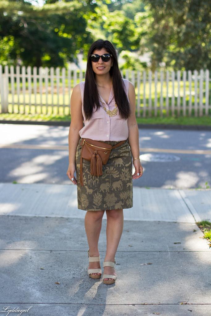 elephant print skirt, pink blouse, tassel waist bag-5.jpg