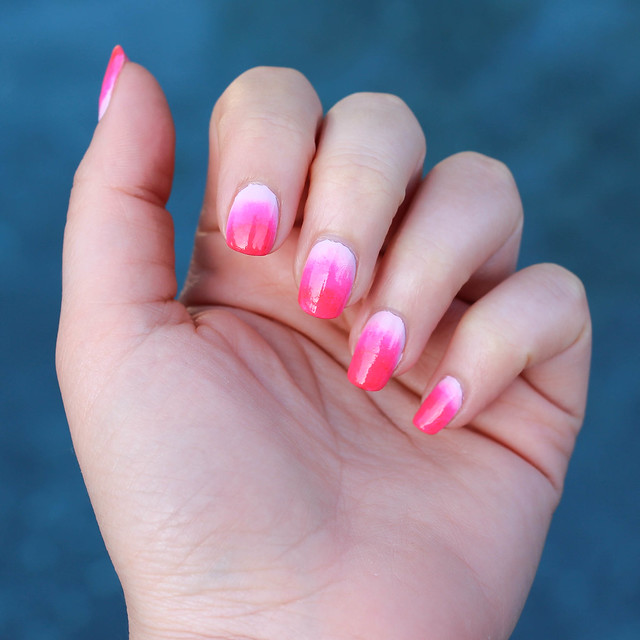 Neon Pink Ombré Manicure | National Pink Day June 23 | Ombré Nail Art Tutorial on Living After Midnite by Beauty Blogger Jackie Giardina