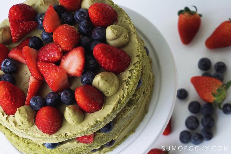 Matcha Berries Naked Cake Recipe