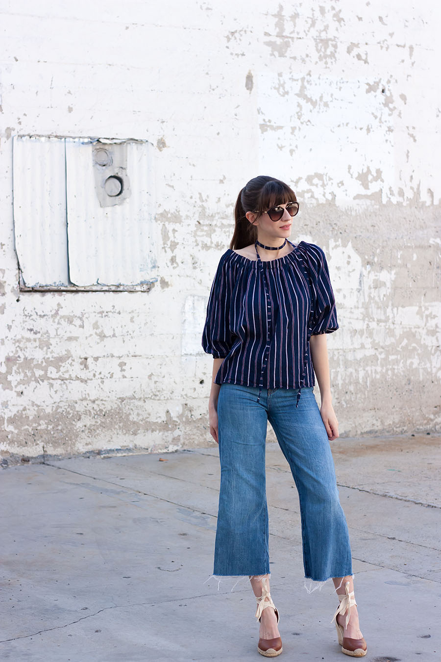 Denim Culottes, Off the shoulder top, Soludos Wedges, 70's Style