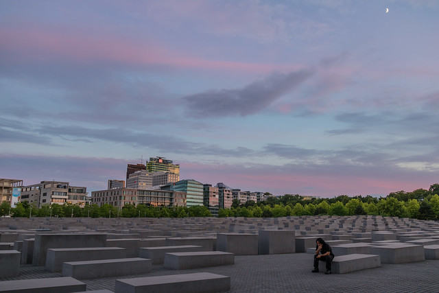 The Memorial to the Murdered Jews of Europe at dusk