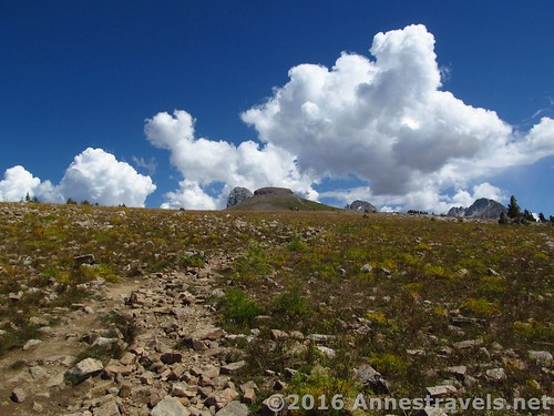 Looking back at Table Mountain as we descend, Jedediah Smith Wilderness & Grand Teton National Park, Wyoming