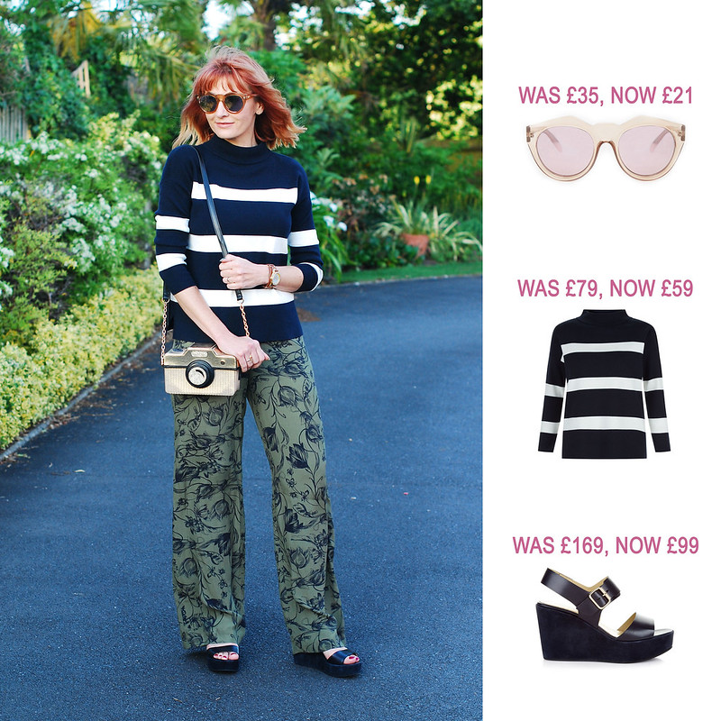 Summer Sales Picks SS16 - ASOS ruond mirrored sunglasses, Hobbs navy and white stripe sweater, navy wedge sandals | Not Dressed As Lamb