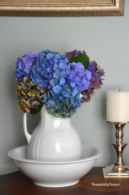 Ironstone Bowl and Pitcher with Hydrangeas - Housepitality Designs