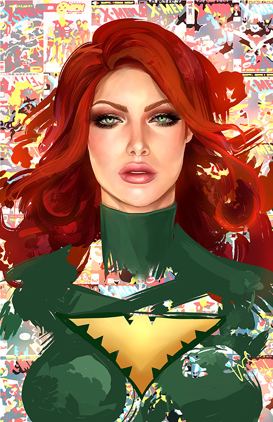 The Ladies of DC and Marvel Comics by Whitney Jiar - Jean Grey