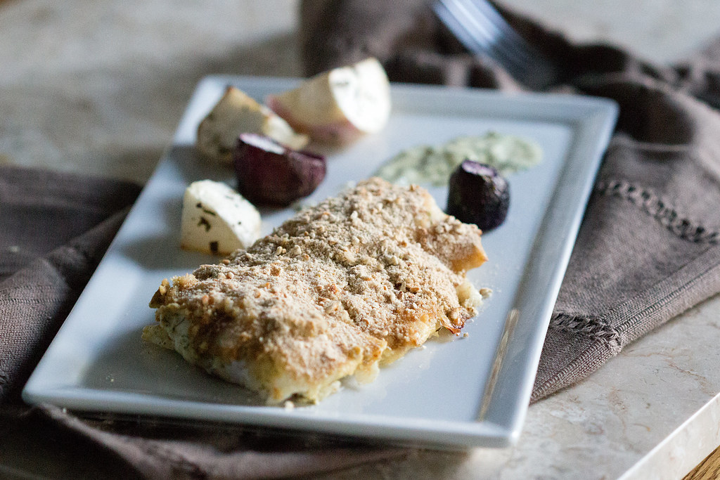 Fish with Dijon Dill Pretzel Crust