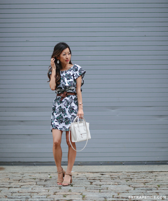 palm print ruffle dress