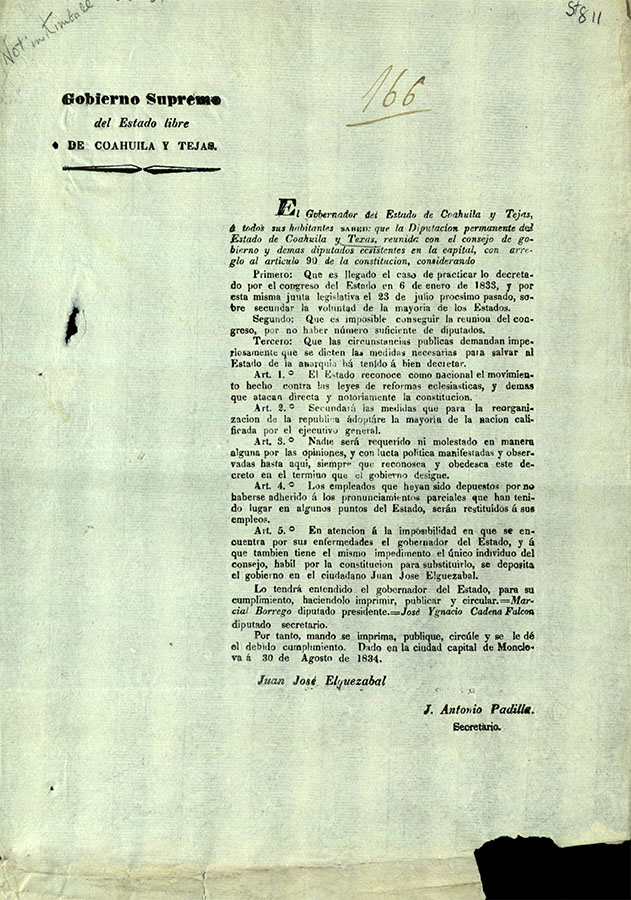 Coahuila and Texas (Mexico): Decree of the Standing Deputation of Congress...