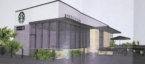 This rendering illustrates a Starbucks coffee shop the company has proposed building at the current location of the Bel-Loc Diner, in Parkville