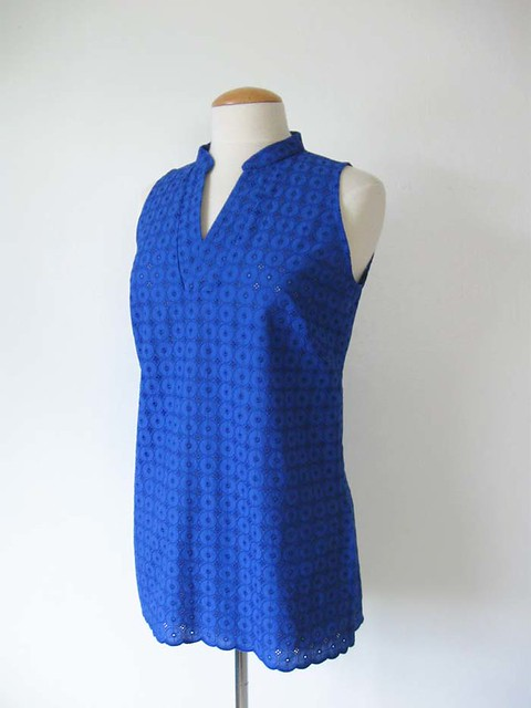 blue eyelet top front view