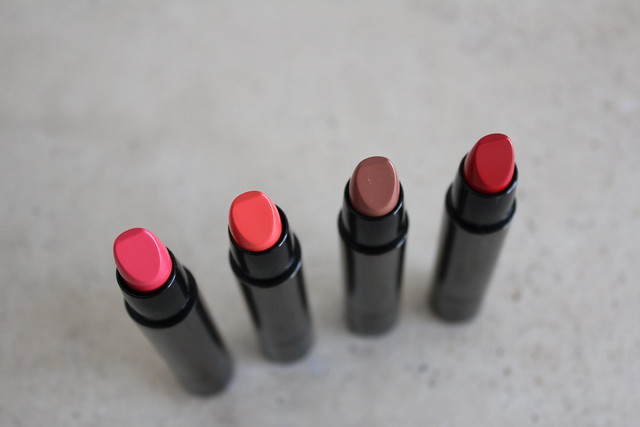 Burberry Full Kisses lipstick in Light Crimson, Coral Red, Nude, and Military Red review and swatches