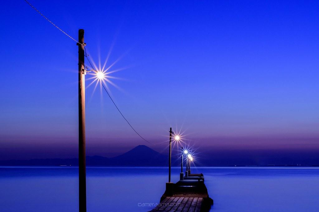 暗くなってもまた絶景の原岡海岸