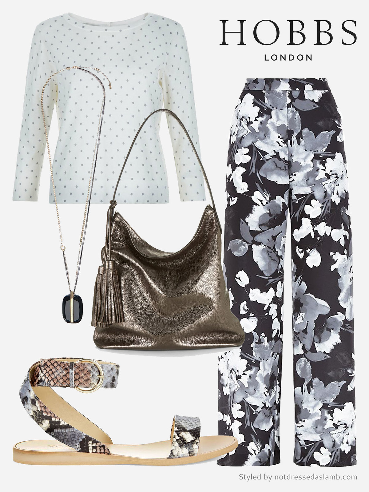 Casual pattern mixing for daytime: Polka dots, florals and snake print | Hobbs SS16 styled by Not Dressed As Lamb
