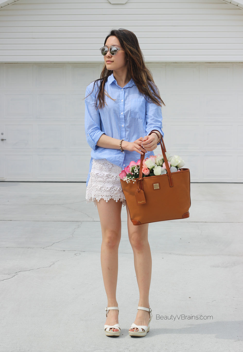 Blue white stripe shirt and white floral lace scallop shorts summer outfit idea