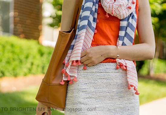 striped and pom pom scarf, orange lace tank, blue/green tweed pencil skirt, cognac brown tote