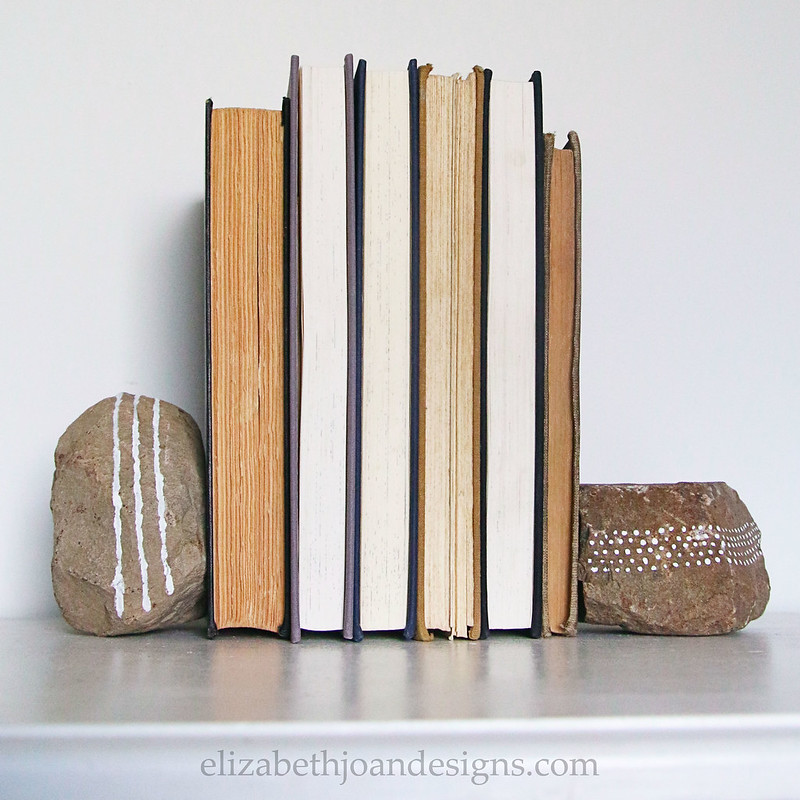 White Paint Fieldstone Bookends