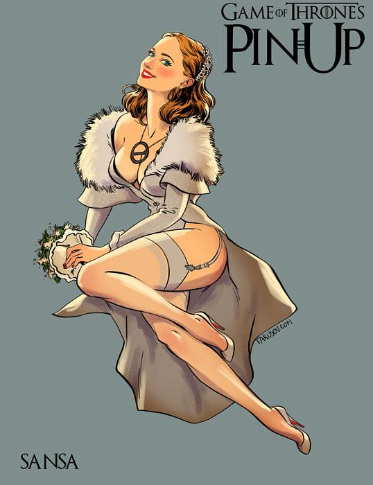 Risqué Game of Thrones pin-up girls by Andrew Tarusov - Sansa Stark