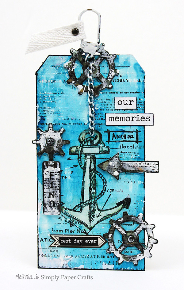Simply paper craft meihsia Liu mixed media tag nautical tim holtz simon says stamp monday challenge 600