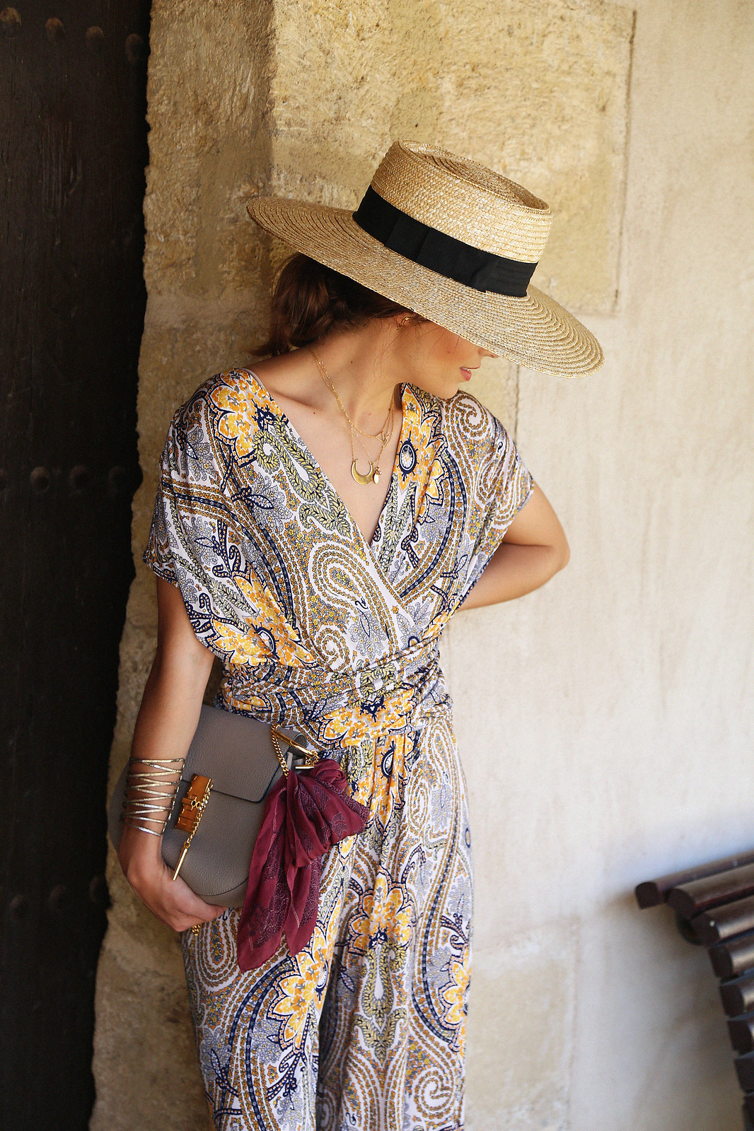 jessie chanes seams for a desire paisley jumpsuit summer hat chloe bag-12