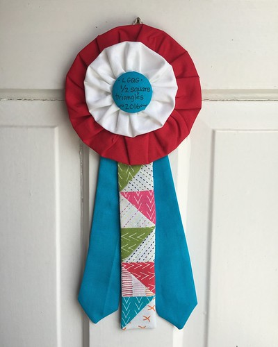 The ribbon I made to be awarded to a quilt with impressive 1/2 square triangles at my traditional guild show this weekend.