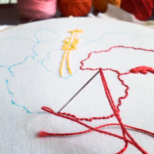 #embroidery takes me to that place of calm and wonder. Playing with colors, shapes and textures in this way feels exactly like that: play. So glad this is also work. Join the #airembroideryclub or learn how to embroider: Http://www.airdesignstudio.com/emb
