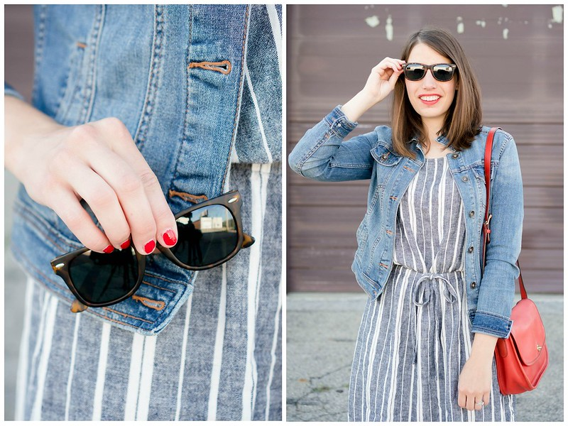 Old Navy blue and white stripe dress + denim jacket + sunglasses + red Coach purse + wedge sandals, casual summer outfit | Style On Target