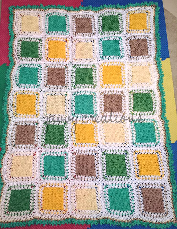 Tunisian Color Block Throw